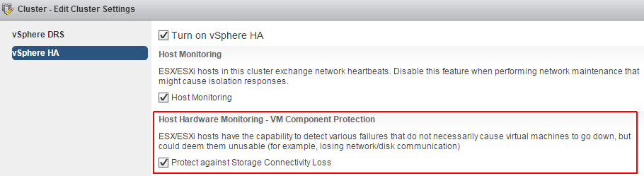 vmware-ha-component-protection