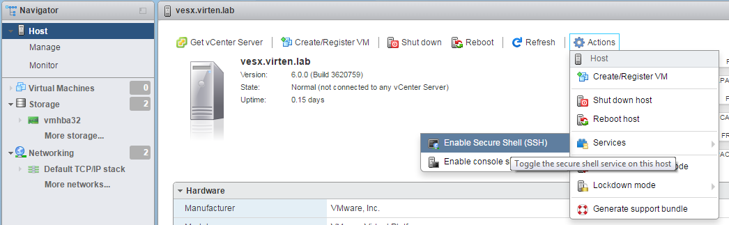 vmware-host-client-enable-ssh