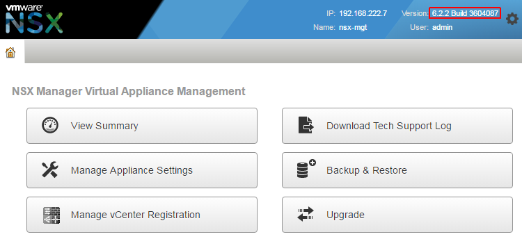 nsx-build-number-web-interface