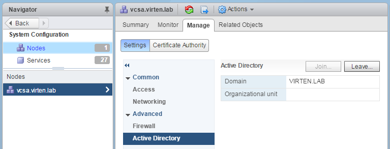 How to Join the vCSA 6 5/6 7 to an Active Directory Domain