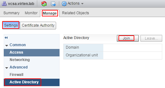 How to Join the vCSA 6 5 to an Active Directory Domain-学海