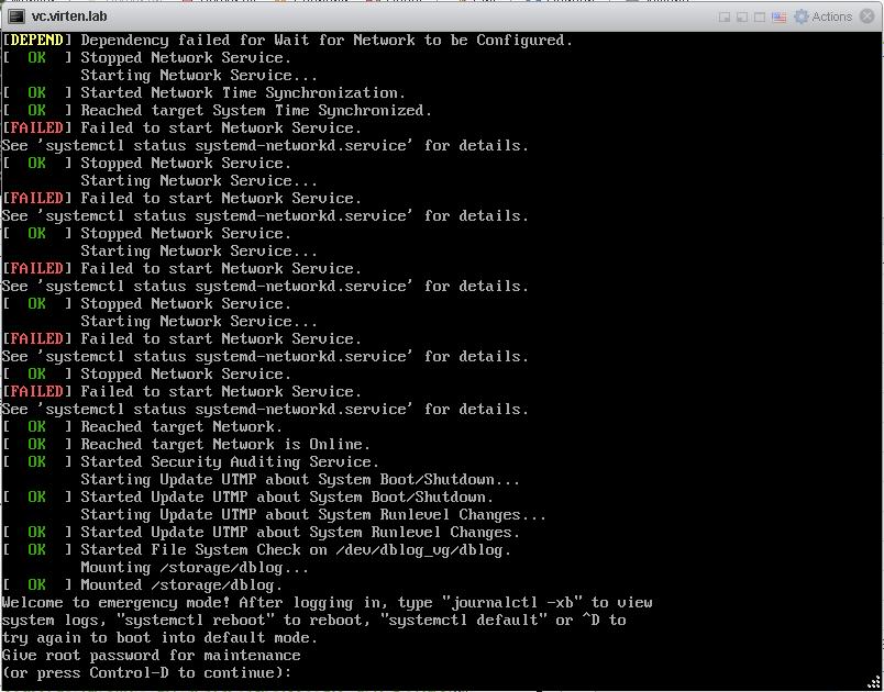 VCSA 6 5 Broken Filesystem –