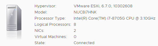 VMware ESXi 6 7 Installation on Intel NUC8i7HNK and